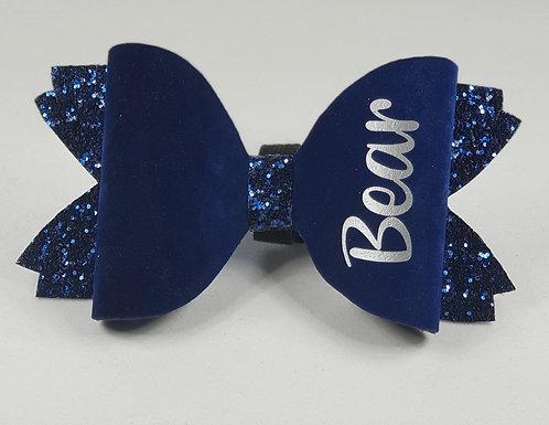 Velvet felt and glitter, personalised bow MIDNIGHT