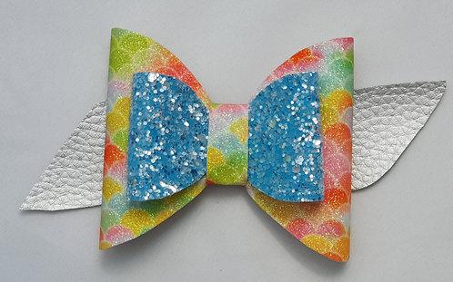 Blue Rainbow Fishscales Glitter Double Bow