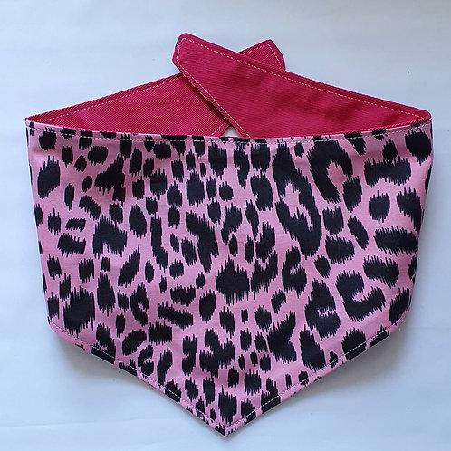 PINK Leopard Print Reversible Popper Dog Bandana