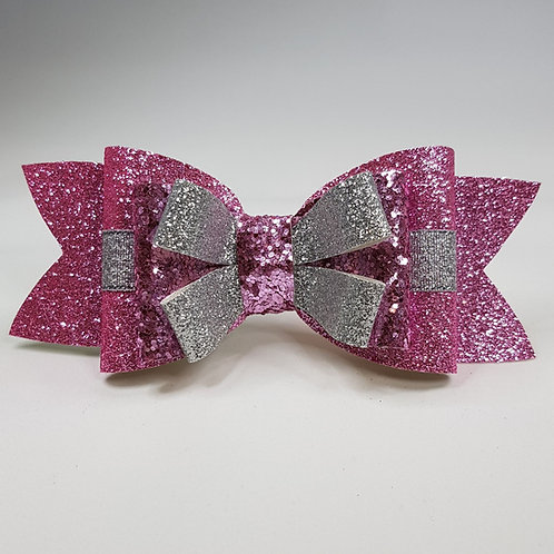 Gift Bow Pink/Silver glitter/Leatherette Triple Bow