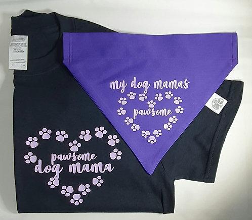 Pawsome Dog Mama Tee/Bandana Set