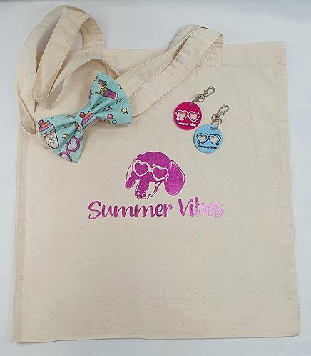 EXCLUSIVE Summer Vibes Dog Bow Tie and DOG TAG/KEYRING and BAG SET