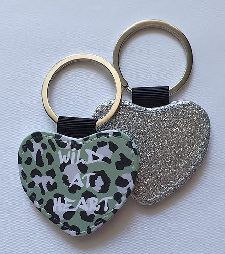 Khaki Leopard Wild At Heart Keyring with glitter reverse