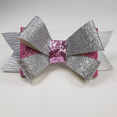 Gift Bow Silver/Pink glitter/Leatherette Double Bow