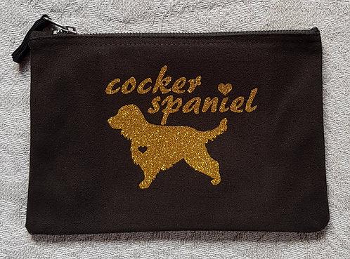 Dog Print Zip Pouch COCKER SPANIEL