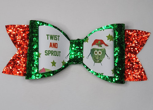 Xmas Sprout Glitter Double Bow