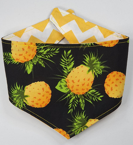 Pineapple/ZigZag REVERSIBLE POPPER DOG BANDANA