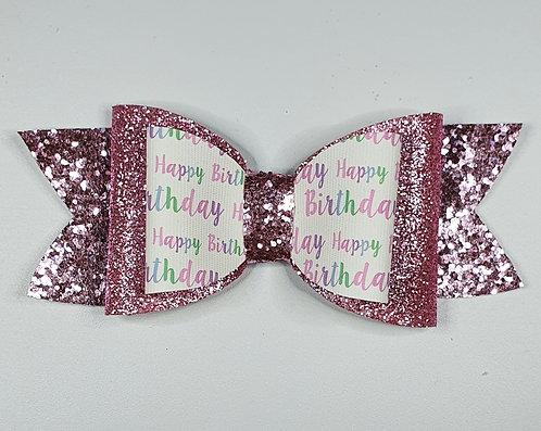 Happy Birthday PINK Leatherette/Vinyl Double Bow