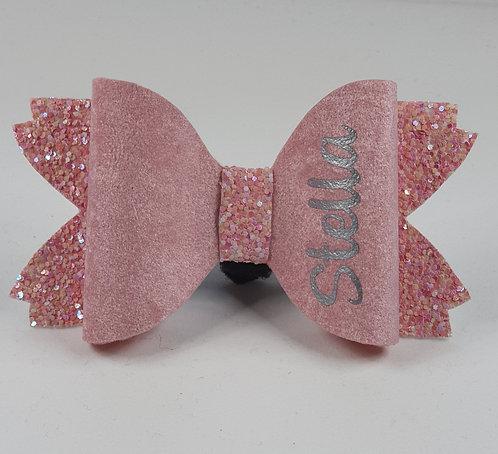Velvet felt and glitter, personalised bow PALE PINK