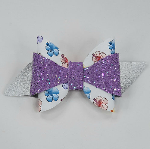 Club Tropicana Print Glitter Vinyl Double Bow