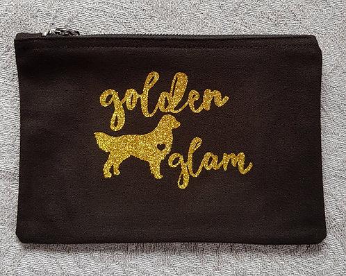 Dog Print Zip Pouch GOLDEN GLAM