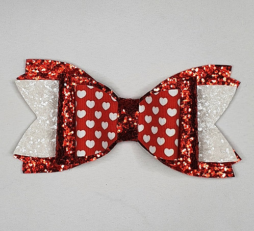 RED/WHITE Double Hearts Glitter Bow