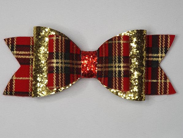Xmas Tartan Glitter Double Bow