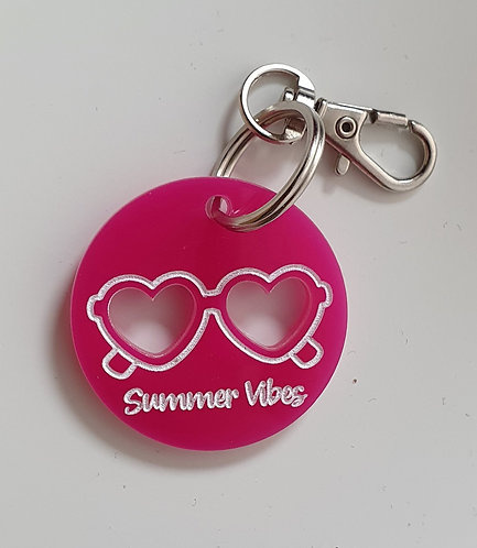 Exclusive Summer Vibes Dog Tag by Jeff and Co BRIGHT PINK