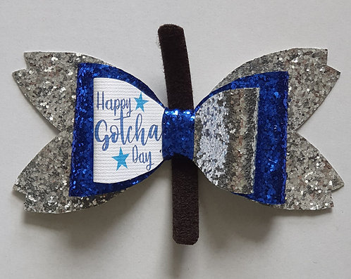 Gotcha Day BLUE Double Glitter Bow