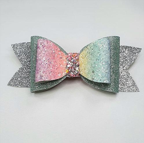 Pastel Rainbow Glitter Vinyl Double Bow