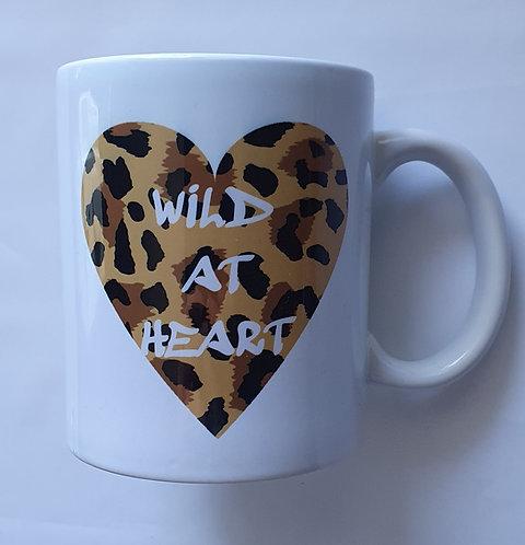 Beige Leopard Wild At Heart Print Mug