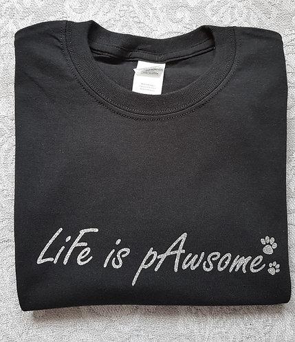 Life Is Pawsome Tee BLACK