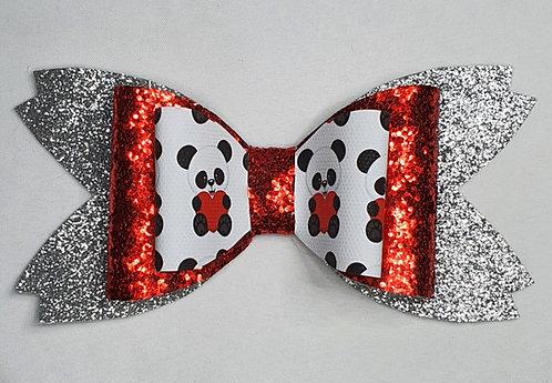 Panda Heart Double Glitter Bow