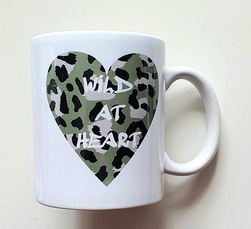 Khaki Leopard Wild At Heart Print Mug