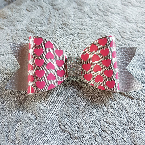 Hearts PINK Leatherette/Vinyl Bow