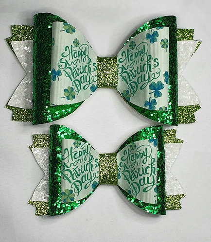 St Patricks Day Text Double Glitter Bow