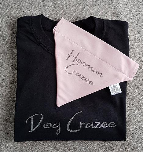 PERSONALISED Dog Crazee/Hooman Crazee Tee/Bandana Set BLACK/P PINK
