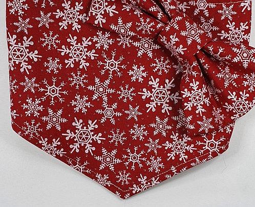 Xmas RED Snowflakes Over Collar Dog Bandana
