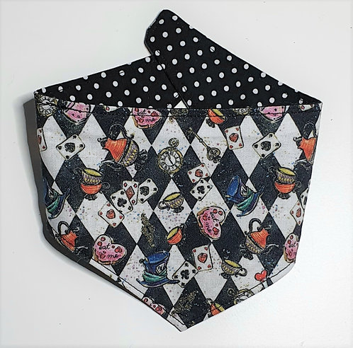 Checkerboard - Wonderland REVERSIBLE POPPER DOG BANDANA