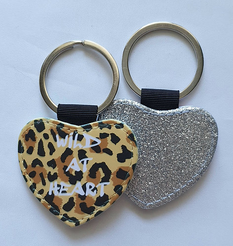 BEIGE Leopard Wild At Heart Keyring with glitter reverse