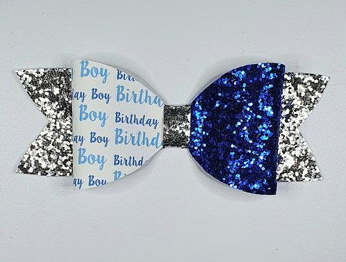 Birthday Boy Leatherette/Glitter/Vinyl Bow