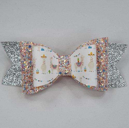 Beach Llama Glitter Vinyl Double Bow