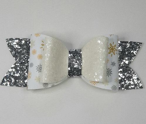 Xmas Snowflake Glitter Double Bow