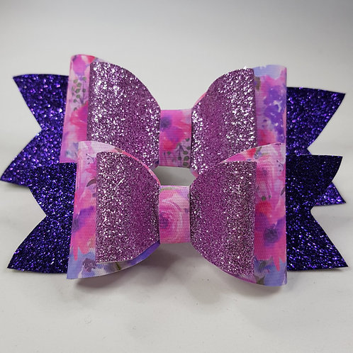 Purple Florals Vinyl/Glitter Double Bow 1 SMALL AND 1 MED AVAILABLE