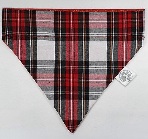 Xmas Tartan RED Over Collar Dog Bandana