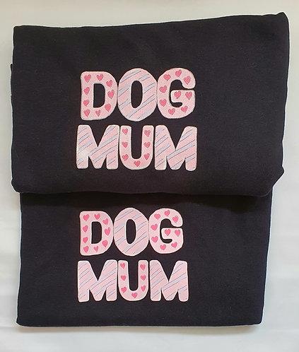 Dog Mum, pink print Tee Shirt - glitter or plain