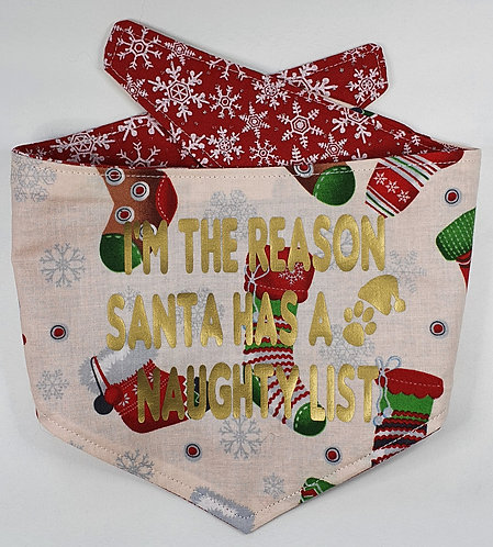 Xmas Stockings/Red Snowflakes REVERSIBLE POPPER DOG BANDANA
