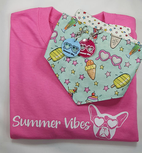 EXCLUSIVE Summer Vibes REVERSIBLE POPPER Dog bandnana, DOG TAG/KEYRING and TEE