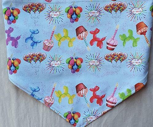 D2P Birthday BLUE Exclusive  Print Over Collar Dog Bandana