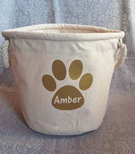 Dog Toy Bag PERSONALISED PAW PRINT Gold