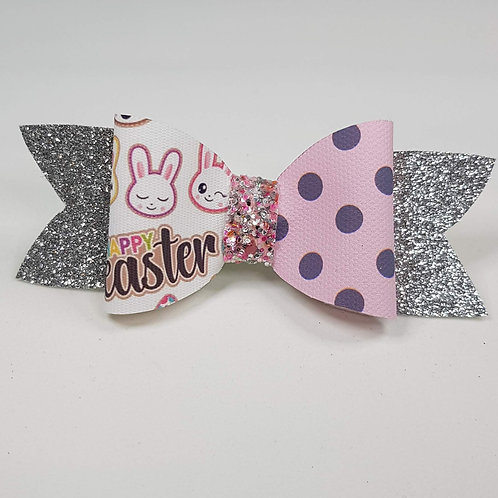 Easter Bunny Pink Glitter/Vinyl Bow