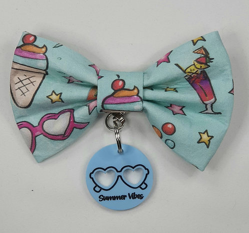 EXCLUSIVE Summer Vibes Dog Bow Tie and DOG TAG/KEYRING SET