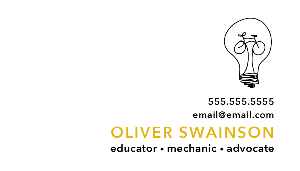 Business card for Oliver Swainson