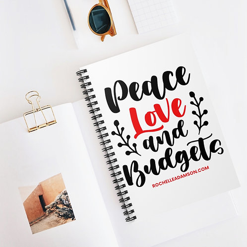 Peace, Love & Budgets Spiral Notebook - Ruled Line