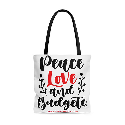 Peace, Love & Budgets Tote Bag