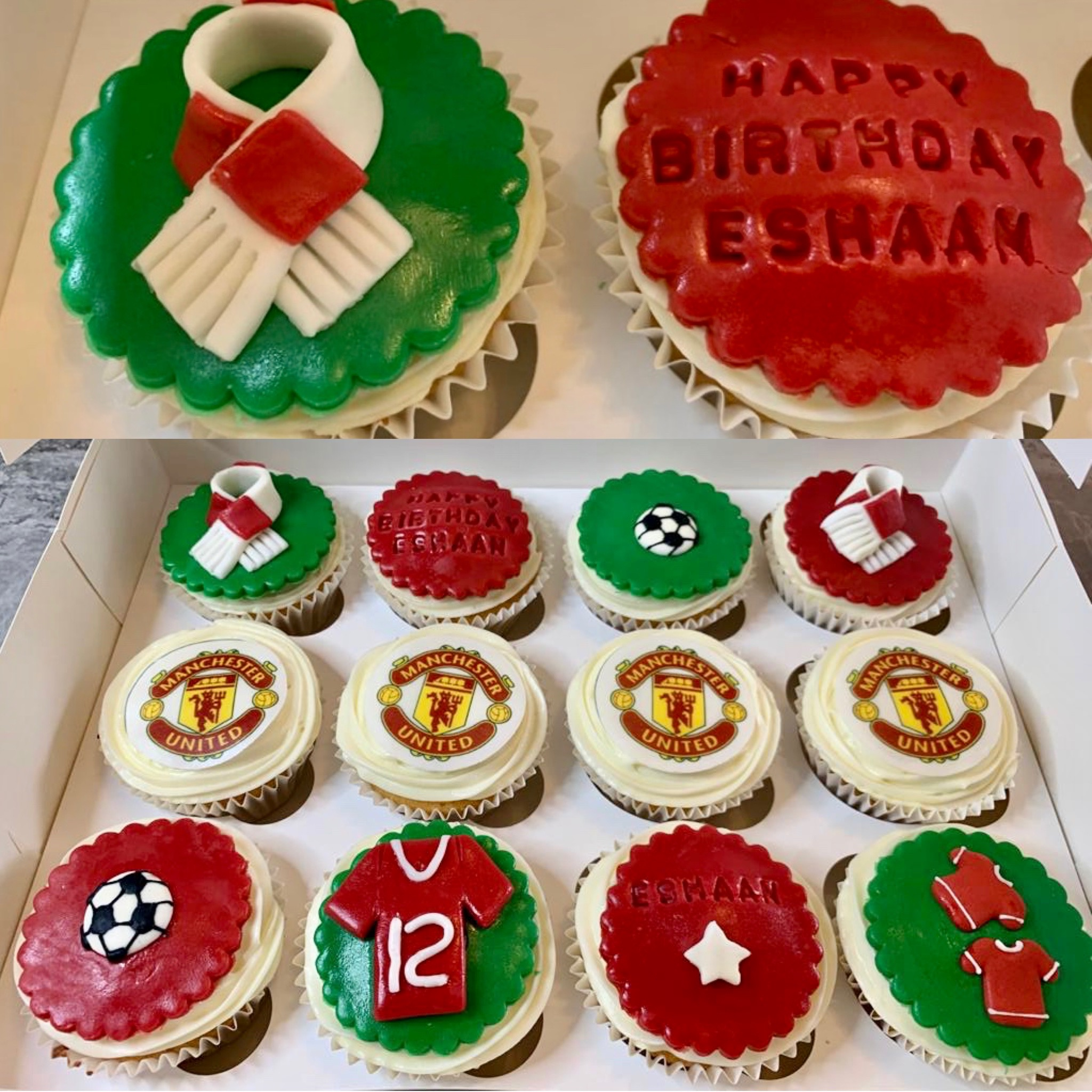7.Football Manchester United Themed Cupcakes