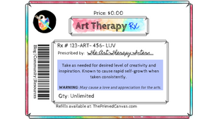 Art Therapy Rx label image for blog post on art therapy directives.