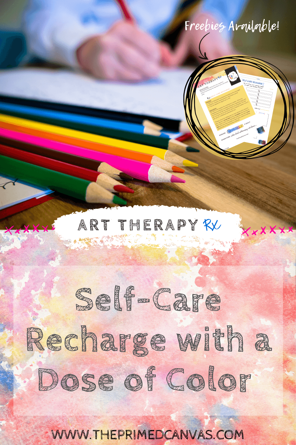 Art Therapy Rx | Self-care Recharge: An art therapy activity to address stress and discuss coping skills for physical, emotional, social, and spiritual wellbeing. [Disponible en Español]