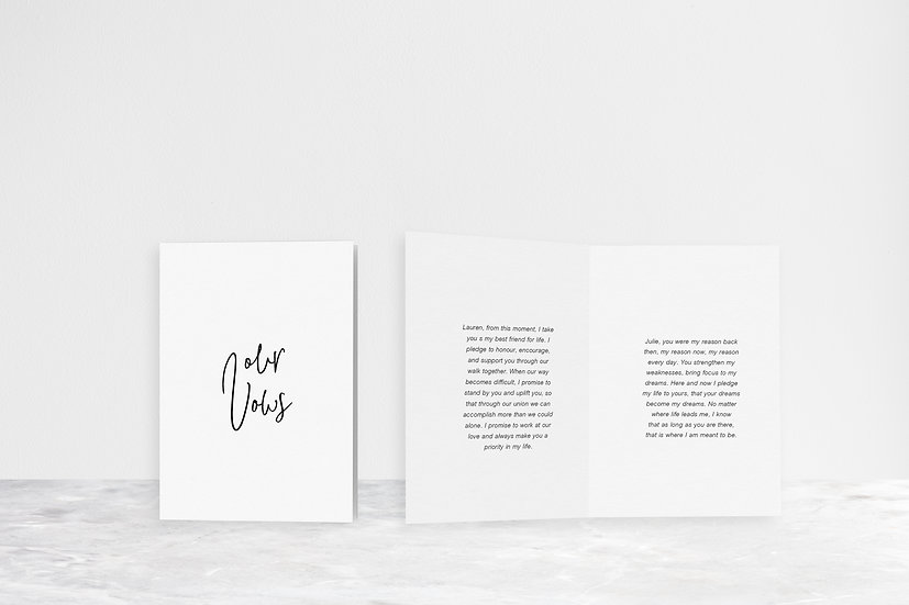 Our Vows Folded Card