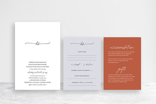 Samantha 3 Card Invitation Suite